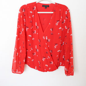 BANANA REPUBLIC Floral Red Loose Fit Wrap Top